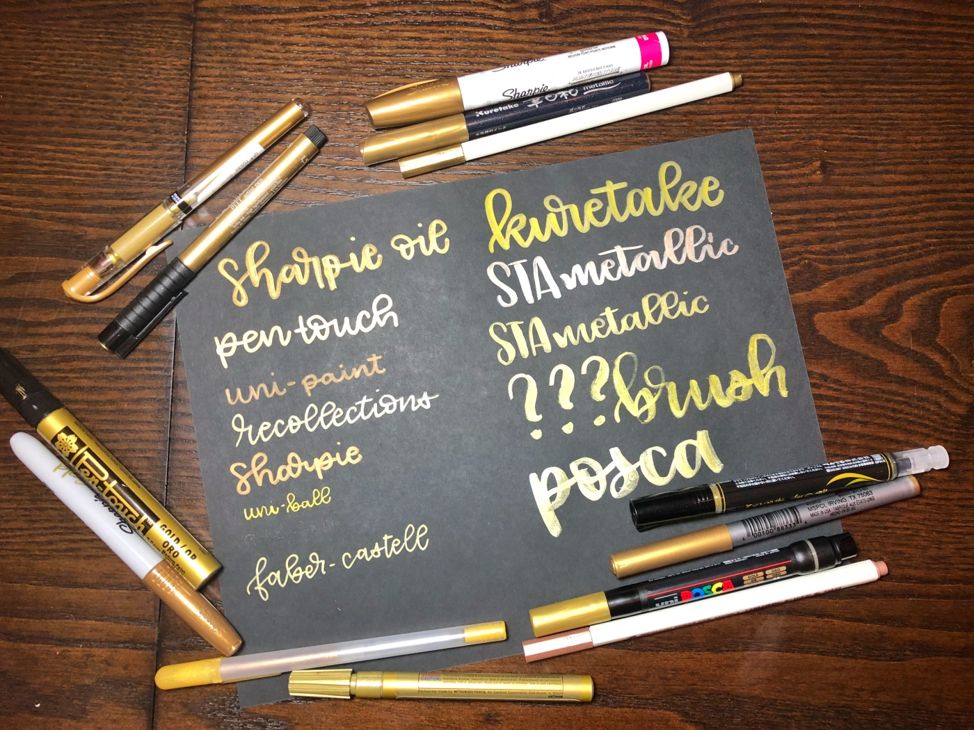 Comparing Gold Pens On Black Paper Mostly Gold Everything